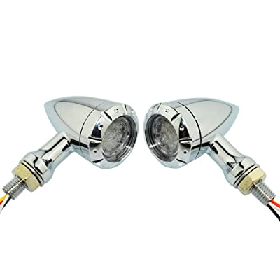 4 Wires Motorcycle Dual Flashing Color Amber Red Turn Signal Light Running Brake For Custom (Chrome): Automotive