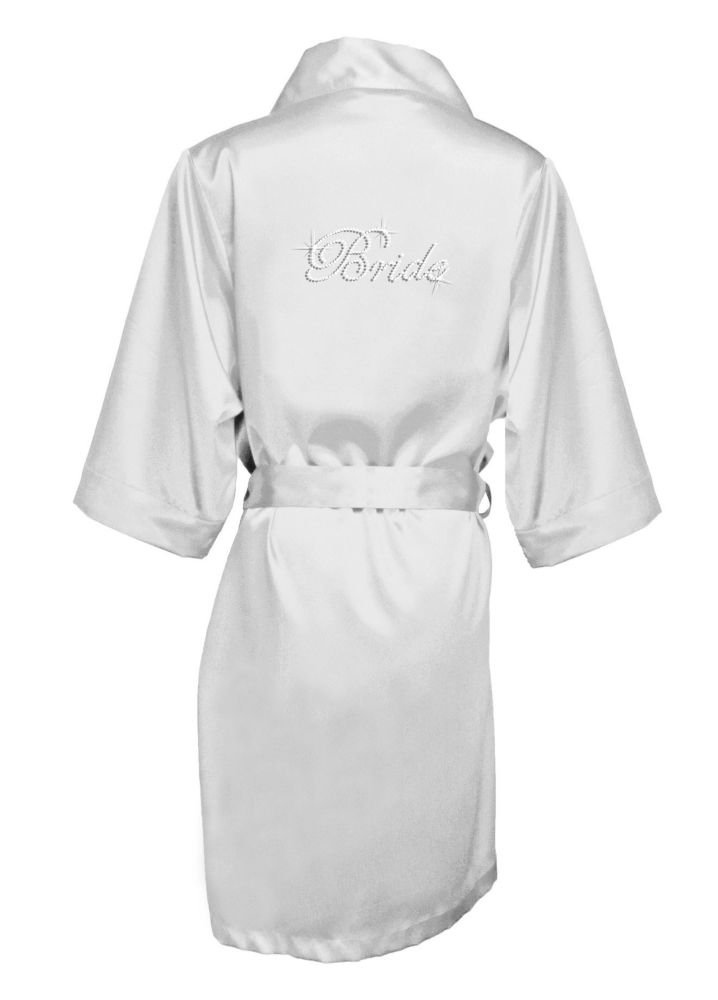 Rhinestone Bride Satin Robe Style DBBRRB, Silver, L/XL