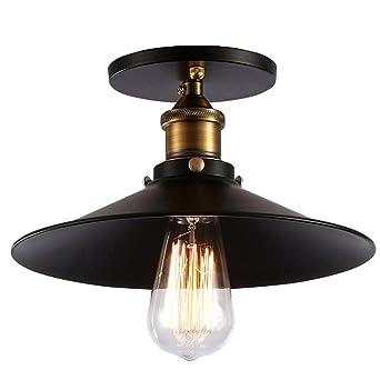 Fuloon E27 Deckenleuchte Industrielampe Retro Deckenlampe Für Balkon  Veranda Esszimmer Küche... (Schwarz