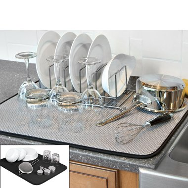 The Original™ Dish Drying Mat XL Microfiber, Absorbent, Machine Washable, Fast Drying 18 X24  DUAL SURFACE (BLACK)