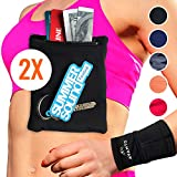 AVANTO Ninja Wrist Wallet, Ankle Wallet, Sweat Bands, Armband, Hidden Pouch, Wristlet Wallet for Travel, Running Pouch for Your Running Accessories, 2-Pack, Black, XS/S