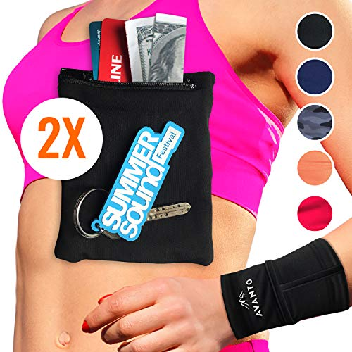 AVANTO Ninja Wrist Wallet, Ankle Wallet, Sweat Bands, Armband, Hidden Pouch, Wristlet Wallet for Travel, Running Pouch for Your Running Accessories, 2-Pack, Black, XL/XXL (Best Hidden Wallet For Travel)