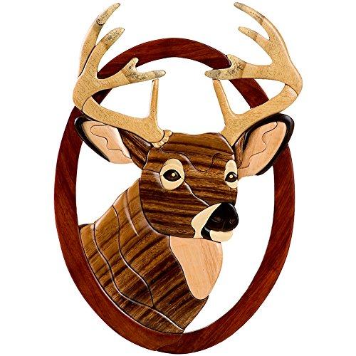 Distinctive & Unique Hand Carved Decorative Wooden Wall Hanging Decor Art Sculpture - Buck Deer Head (16