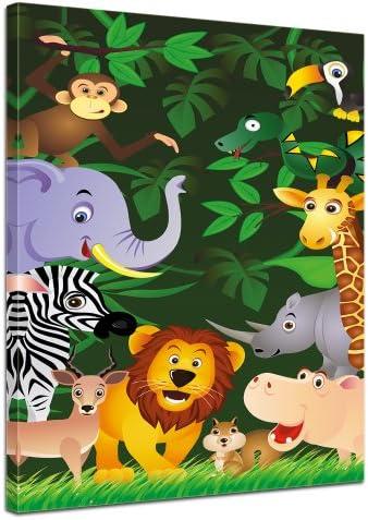 Bilderdepot24 Cuadros en Lienzo Imagen de los niños - Animales Divertidos en la Selva - Dibujos Animados 60x90 cm 3 Piezas - Enmarcado Listo Bastidor Imagen. Directamente Desde el Fabricante: Amazon.es: Hogar