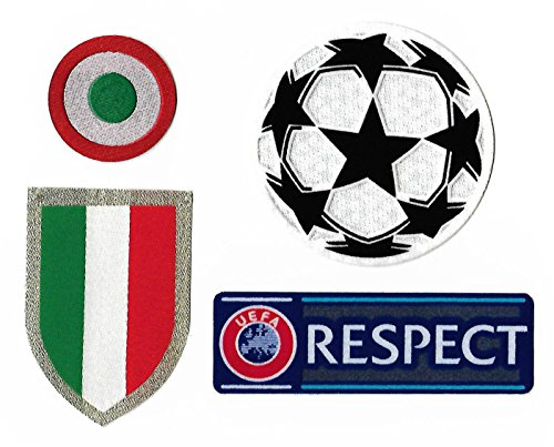 Juventus 2017-2018 Uefa Champions League Soccer Patches Scudetto, Coppa Italia, Star Ball, Respect Football Badge Set