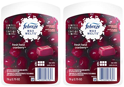 Febreze Wax Melts Air Freshener - Winter Collection 2017 - Fresh-Twist Cranberry - Net Wt. 2.75 OZ (78 g) Per Package - Pack of 2 Packages (Wax Twists)