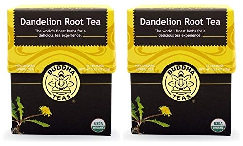 - Buddha Teas Natural Dandelion Root Tea (Pack of 2) With Organic Dandelion Root containing Vitamin A, C and K, 18 Count Each
