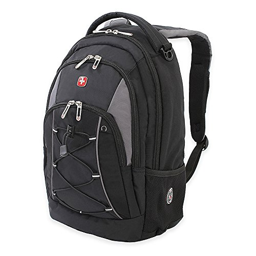SWISSGEAR 17.5-Inch Bungee Backpack with water bottle pocket, adjustable padded shoulder straps, Perfect for School in Black/Grey