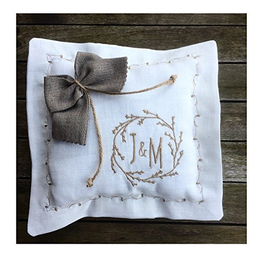 Ring Bearer Pillow White Off white Linen Personalized Embroidered Primitive Monogram Grey Ecru Rustic Bow Twine Ties