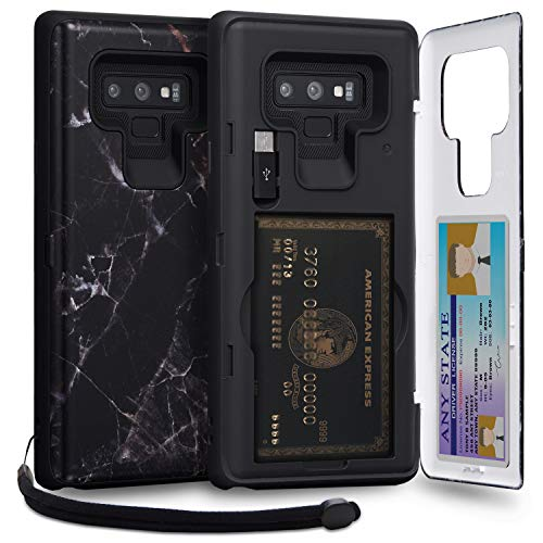 TORU CX PRO Note 9 Wallet Case Pattern with Hidden ID Slot Credit Card Holder Hard Cover, Strap, Mirror & USB Adapter for Samsung Galaxy Note 9 (2018) - Black Marble