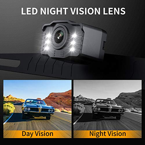 Car Backup Camera Rearview Parking Vehicle S2 RCA Camera by Xroose High Definition 6 LED Lights for Night Vision IP69K Waterproof Rate License Plate Mounted Optimum 149˚ Wide View for Safty,12-24V