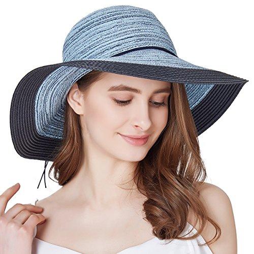 SOMALER Women Floppy Sun Hat Summer Wide Brim Beach Cap Packable Cotton Straw Hat for Travel Navy ()