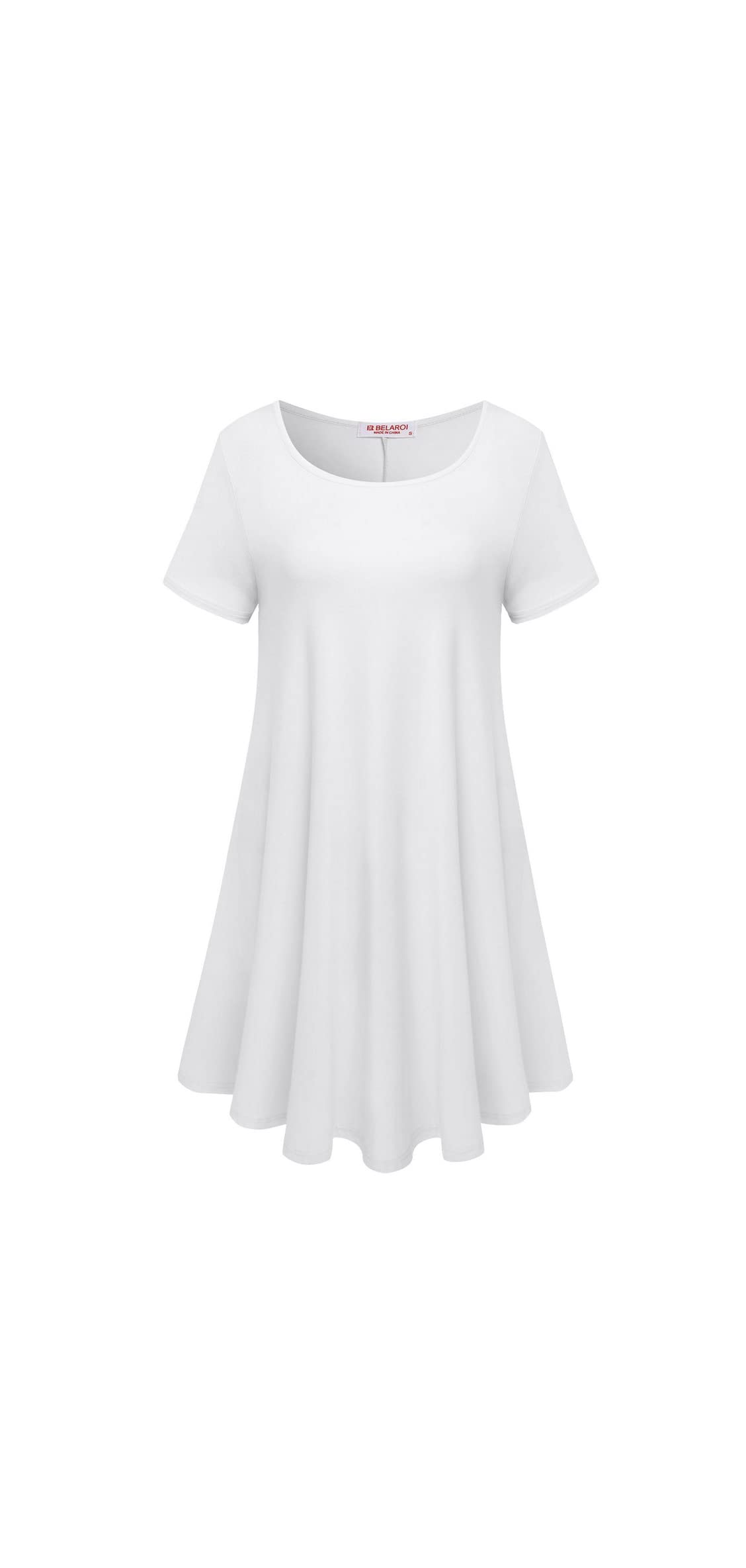 Womens Comfy Swing Tunic Short Sleeve Solid T-shirt