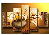 FLY SPRAY 5-Piece 100% Hand-Painted Oil Paintings Panels Stretched Framed Ready Hang Calla Lily Flora Flower Blossom Bottle Modern Abstract Canvas Living Room Bedroom Wall Art