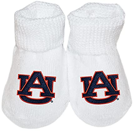 Creative Knitwear Auburn University Tigers AU Logo NCAA Licensed Solid Color Newborn Baby Bootie Sock