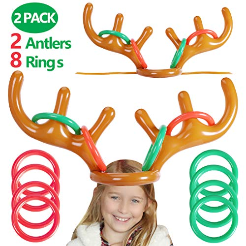 Max Fun Christmas Party Game Antler Ring Toss Game Inflatable Reindeer Antler Ring Toss Game for Christmas Party (Games Reindeer Christmas)