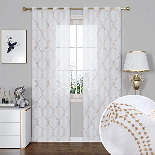 GRALI Geometry Embroidered Semi Sheer Curtain Drapes with Moroccan Lattice Pattern for Patio/Balcony (Sold by 2 Panels, 55