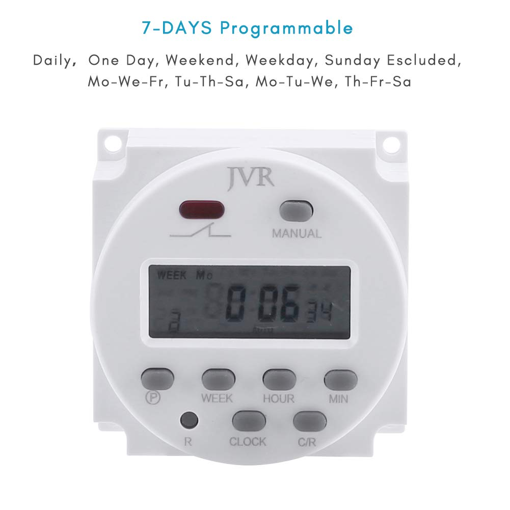 Jvr 12v Timer Switch Programmable Digital 12 Volt Dc Ac Solar Led Clock Circuit Battery Powered For Chicken Coop Door With 4 Female Wire Terminal Cables