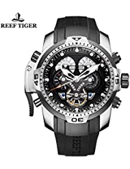 Reef Tiger Mens Sport Watch Complicated Dial Black Rubber Steel Automatic Watch RGA3503