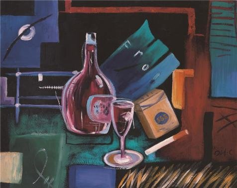 Oil Painting 'Wine And Cigarette' Printing On High Quality Polyster Canvas , 10x13 Inch / 25x32 Cm ,the Best Home Theater Decor And Home Gallery Art And Gifts Is This Replica Art DecorativePrints On Canvas