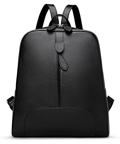 c29a7895e03a Hot Style Women Real Genuine Leather Backpack Purse SchoolBag for ladies by  Coolcy (Black)