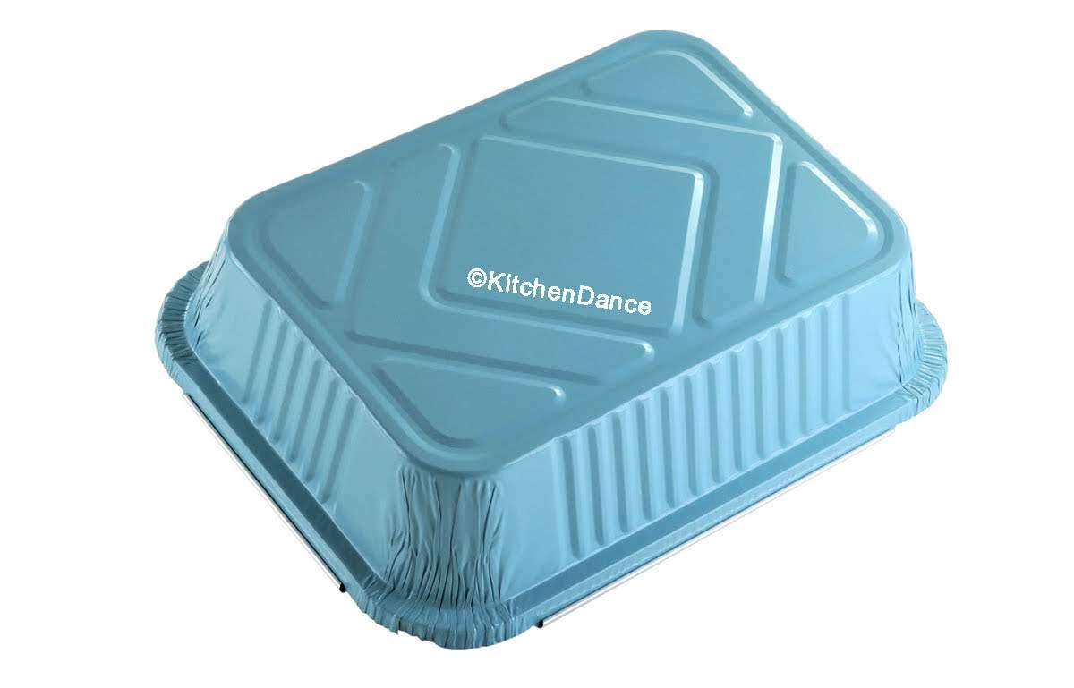 KitchenDance Disposable Colored Aluminum 3.75 Pound Take Out Pans. Color and Lid Options (with Plastic Lids, Blue, 25) by KitchenDance.com (Image #6)