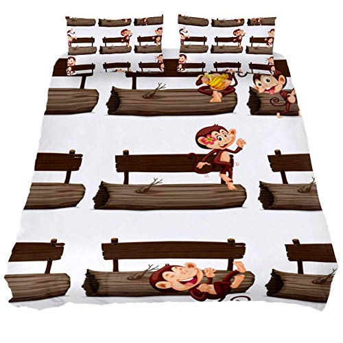 Mapotofux King Duvet Cover Set,Soft Bedding Cover,Luxury Cool Lightweight Microfiber 3pc Set (1 Cover 2 Pillowcase) with Zip,Best Bed Quilt Cover,Happy Monkey On The Chair Print