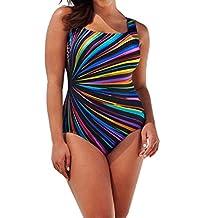 Women Plus Size Swimwear, Keepfit One Piece Colorful Striped Bathing Suit Padded Monokini Swimsuit
