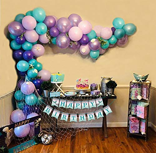 Mermaid Balloon Garland Arch Kit 16ft Long and Birthday Banner,Gold Foil Tail Balloons Party Centerpiece Decorations for Girls Kids