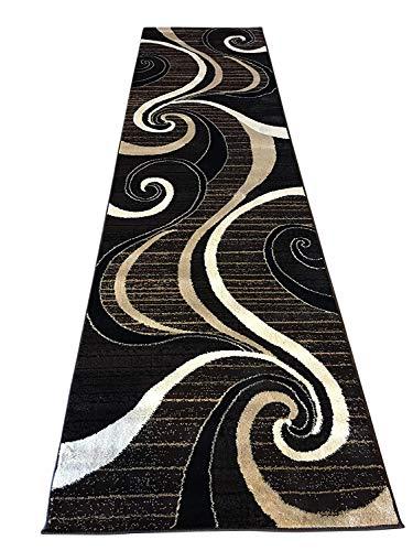 Runner Rug Area Contemporary - Modern Long Runner Contemporary Area Rug Dark Brown & Black Carpet King Design 344 (32 Inch X 10 Feet )