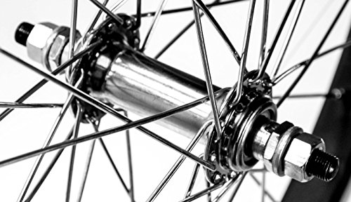 """BMX / Kids Bike Front Wheel 20"""" 3/8"""" Nutted Axle 36h Aluminum Alloy BLK/SILV New"""