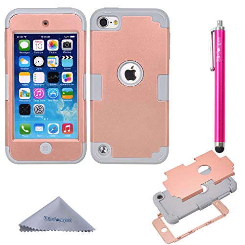 - iPod Touch 6/5 Case, Wisdompro 3-Piece [3 in 1] Hybrid Shockproof [Soft Internal Silicone and Hard Shell] Case Cover for Apple iPod Touch 6th/5th Generation-Grey/Rose Gold