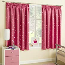 Moon Stars Pink White Silver Metallic Look Pencil Pleat Top Tape Curtains Blockout