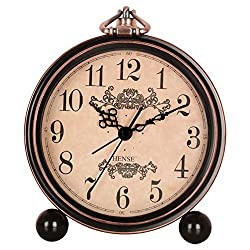 XIDUOBAO Vintage Style Alarm Clock 5 (13cm) Silent Antique Retro Table Clock with Hanging Loop (roman numerals) (Arabic-Modern)