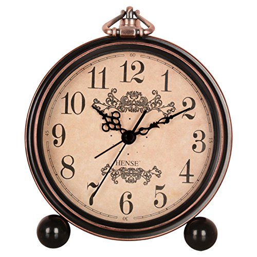 "51g1GZPjF9L - 5.5"" Classic Retro Clock,JUSTUP European Style Vintage Silent Desk Alarm Clock Non Ticking Quartz Movement Battery Operated , HD Glass Lens, Easy to Read"