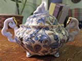 Vintage LEFTON China Blue Paisley Gold Trim Tiny Sugar Bowl NE2358 Hand Painted