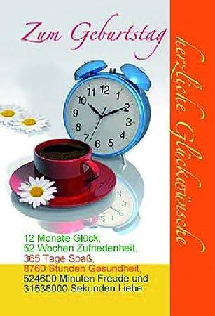 Karte Geburtstag Motiv Spruch Uhr Kaffee Liefermenge 5 Amazonde