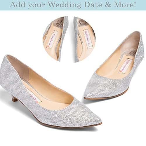 "f53d47d26 Amazon.com: Wedding Shoes Low Heel -""Patent-Pending"" personalization ..."