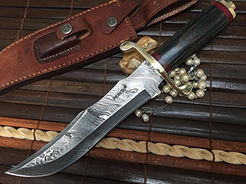 Perkin | 12 Inch Razor Sharp Fixed Blade Damascus Steel Bowie Knife | Full Tang Blade W/A High Grade Leather Sheath| Designed for Hunting, Survival, Skinning, Camping & Self Defense | by Perkin (Image #1)