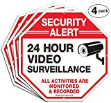 """Security Signs,Faittoo 4 Pack 24 Hour Video Surveillance Sign,Octagon 12""""x12"""" 40Mil Thick Aluminum Reflective Sign for Home Business CCTV Security Camera, UV Protected & Waterproof"""