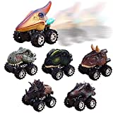 UiiQ Pull Back Dinosaur Cars Animal Dinosaur Vehicles Toys Big Tire Wheel Vehicles Playset for 3+ Years Old Boys Girls Creative Gifts for Kids (6 Pack)