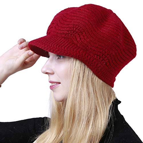 (Muryobao Women's Winter Hat Slouchy Cable Knit Visor Crochet Beanie Hats Warm Snow Ski Skull Cap with Brim Red)