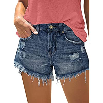 luvamia Women Casual Ripped Denim Shorts Mid Waisted Frayed Raw Hem Jean Shorts at Women's Clothing store