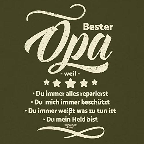 Großvater Fun-T-shirt als Top Geschenk mit GRATIS Urkunde - Bester Opa weil Farbe: khaki Gr: 3XL