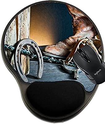 MSD Natural Rubber Mousepad wrist protected Mouse Pads/Mat with wrist support design: 12352132 Cowboy boots horseshoe whip and spurs on wood