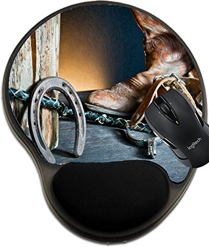 Horseshoe Mat - MSD Natural Rubber Mousepad wrist protected Mouse Pads/Mat with wrist support design: 12352132 Cowboy boots horseshoe whip and spurs on wood