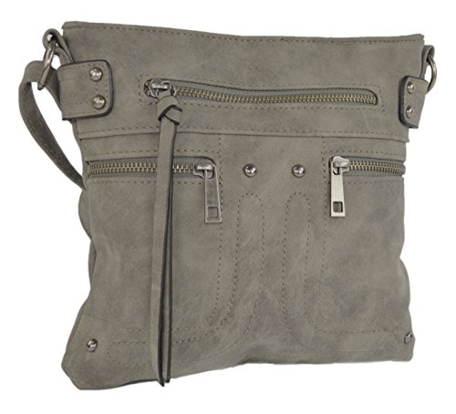 Over Body Bag (Rising Phoenix Industries Grey Edgy Faux Leather Zippered Messenger Crossbody Side Bag Purse, Long Strap)