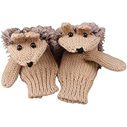 Women's Cartoon Hedgehog Knitted Cotton Gloves