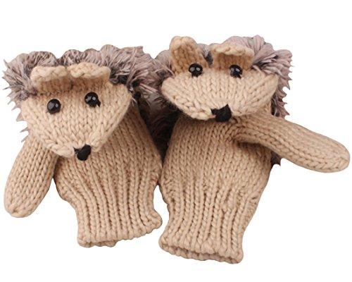 SportsWell Women's Cartoon Hedgehog Winter Knitted Cotton Gloves Girls' Cute Thick Mittens Beige