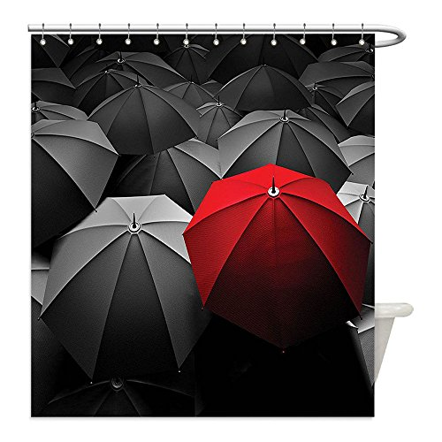 [Liguo88 Custom Waterproof Bathroom Shower Curtain Polyester Red and Black Happiness in Sadness Symbol Art Rainy Stormy Day Umbrellas Photo Charcoal Grey and Ruby Decorative bathroom] (Sadness Costume Ideas)